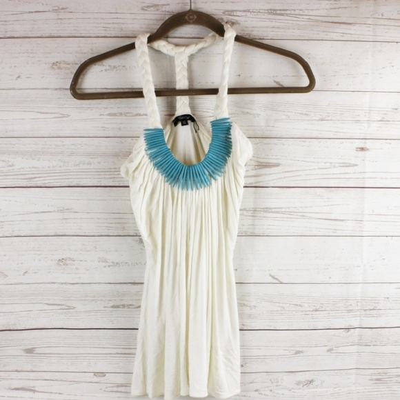 Sky Tops - (Sold)Sky S Halter Top Turquoise Wood Bead Accent